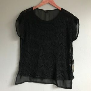 [BCBGMaxAzria] lace and sheer black top